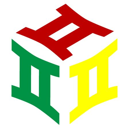 new age: Gemini sign. Isometric style of red, green and yellow icon. Illustration