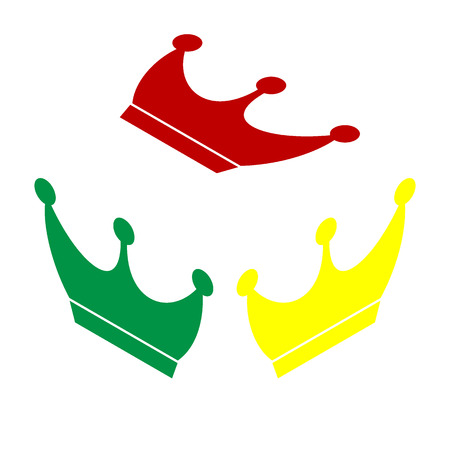 yellow crown: King crown sign. Isometric style of red, green and yellow icon.