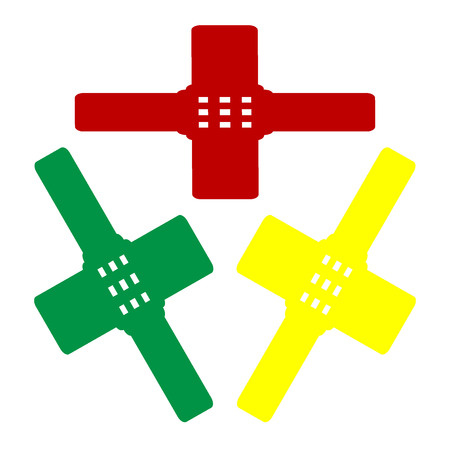 sticking: Aid sticker sign. Isometric style of red, green and yellow icon.