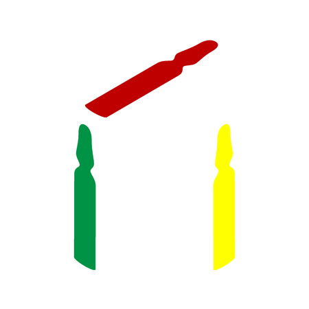 ampoule: Medical ampoule sign. Isometric style of red, green and yellow icon.