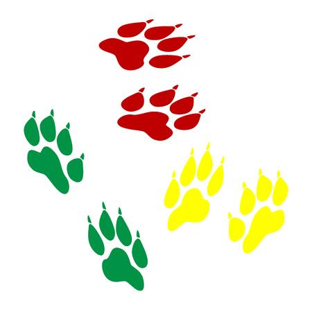 huellas de animales: Pistas animales firman. estilo isom�trico del icono de color rojo, verde y amarillo.