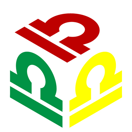 ecliptic: Libra sign illustration. Isometric style of red, green and yellow icon.