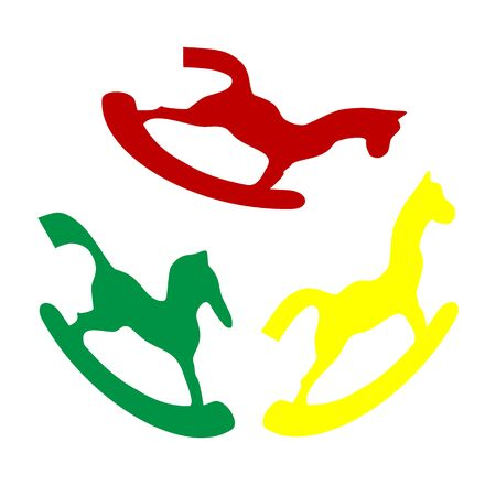 Horse toy sign. Isometric style of red, green and yellow icon.