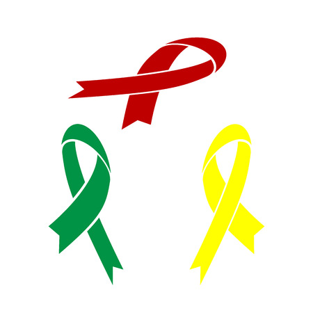 hiv awareness: Black awareness ribbon sign. Isometric style of red, green and yellow icon.