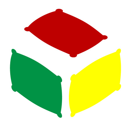 spongy: Pillow sign illustration. Isometric style of red, green and yellow icon. Illustration