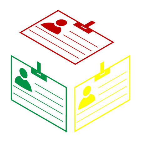 recognizing: Id card sign. Isometric style of red, green and yellow icon.