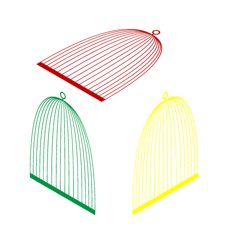 Bird cage sign. Isometric style of red, green and yellow icon. Illustration