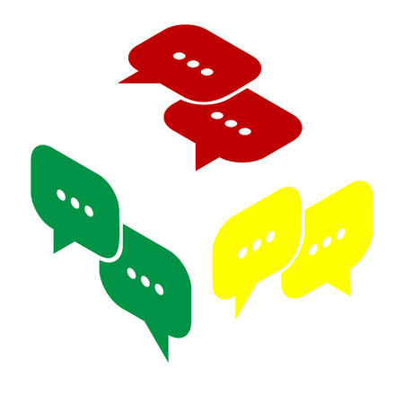Speech bubbles sign. Isometric style of red, green and yellow icon. Illustration