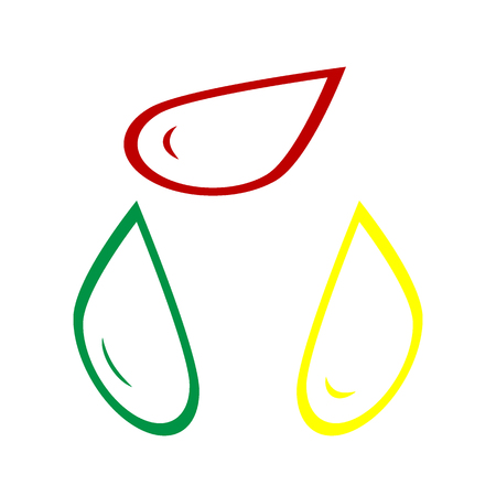 benzine: Drop of water sign. Isometric style of red, green and yellow icon. Illustration