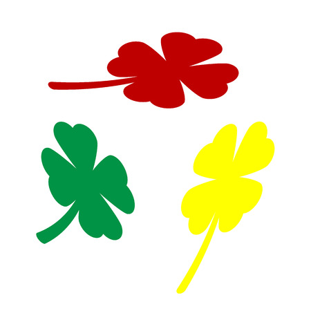 red clover: Leaf clover sign. Isometric style of red, green and yellow icon. Illustration