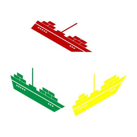 sea tanker ship: Ship sign illustration. Isometric style of red, green and yellow icon.
