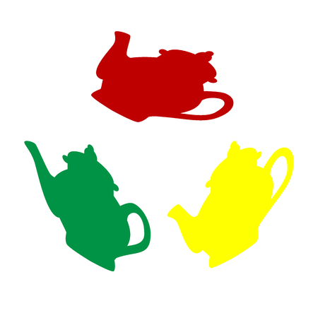 Tea maker sign. Isometric style of red, green and yellow icon. Illustration