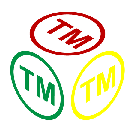 trade mark: Trade mark sign. Isometric style of red, green and yellow icon.