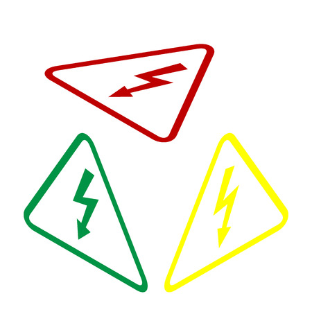 volte: High voltage danger sign. Isometric style of red, green and yellow icon.