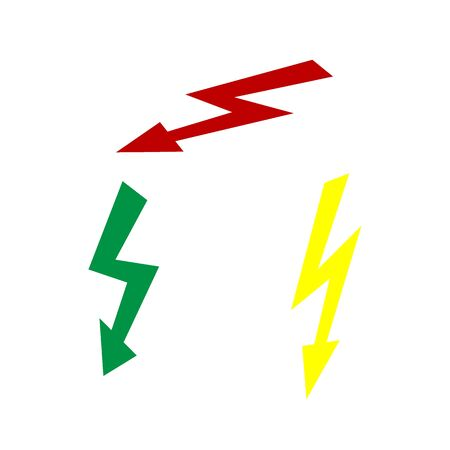high voltage: High voltage danger sign. Isometric style of red, green and yellow icon.