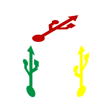 USB sign illustration. Isometric style of red, green and yellow icon. Illustration