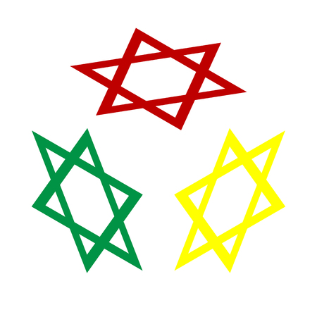 magen david: Shield Magen David Star. Symbol of Israel. Isometric style of red, green and yellow icon.