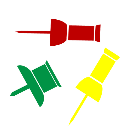 Pin push sign. Isometric style of red, green and yellow icon.