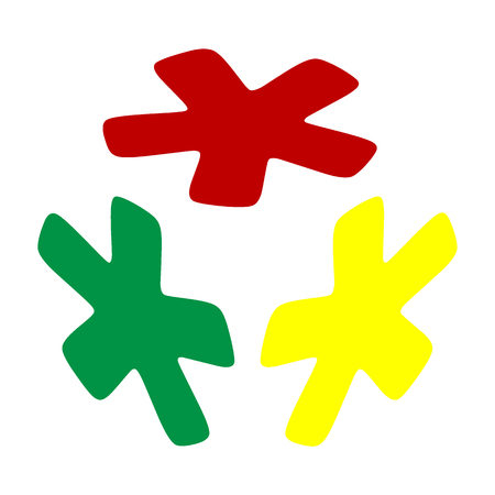 reference point: Asterisk star sign. Isometric style of red, green and yellow icon.
