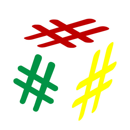 Hashtag sign illustration. Isometric style of red, green and yellow icon. Illustration