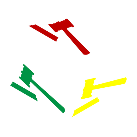 Justice hammer sign. Isometric style of red, green and yellow icon. Illustration