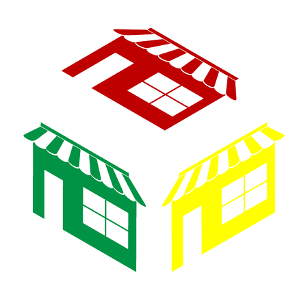 outdoor goods: Store sign illustration. Isometric style of red, green and yellow icon. Illustration