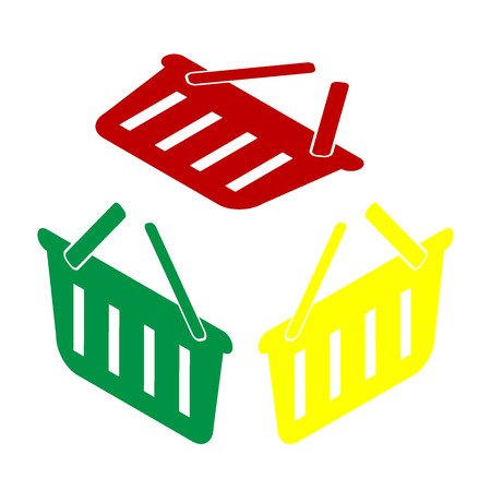 Shopping basket sign. Isometric style of red, green and yellow icon.