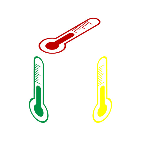 meteo: Meteo diagnostic technology thermometer sign. Isometric style of red, green and yellow icon.