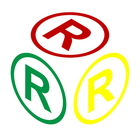 Registered Trademark sign. Isometric style of red, green and yellow icon. Illustration