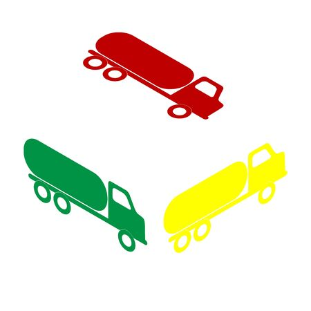 toxic substance: Car transports sign. Isometric style of red, green and yellow icon.