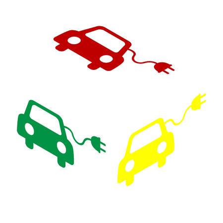 automobile industry: Eco electric car sign. Isometric style of red, green and yellow icon.