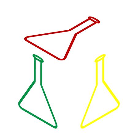 signo matraz cónico. estilo isométrico del icono de color rojo, verde y amarillo. Vectores