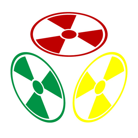 radiological: Radiation Round sign. Isometric style of red, green and yellow icon. Illustration