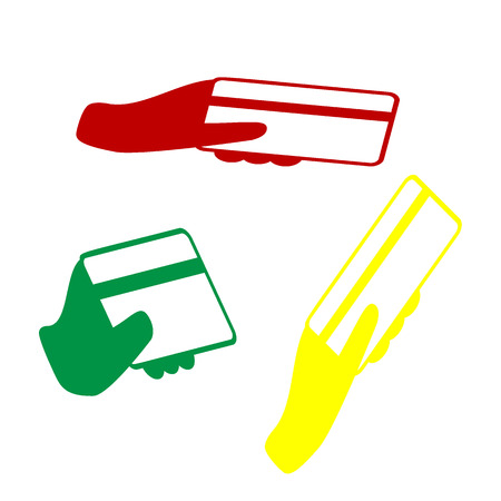 Hand holding a credit card. Isometric style of red, green and yellow icon.