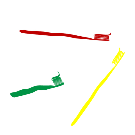 portion: Toothbrush with applied toothpaste portion. Isometric style of red, green and yellow icon. Illustration