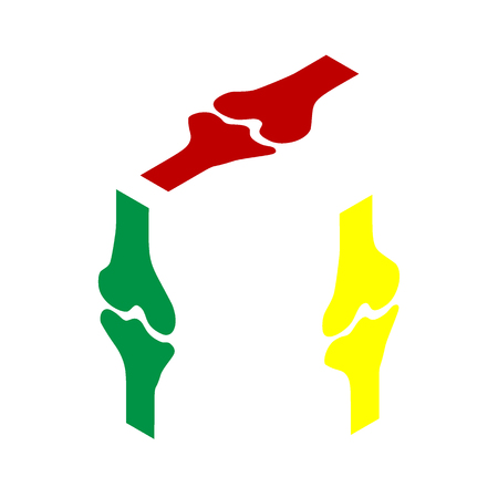 Knee joint sign. Isometric style of red, green and yellow icon.