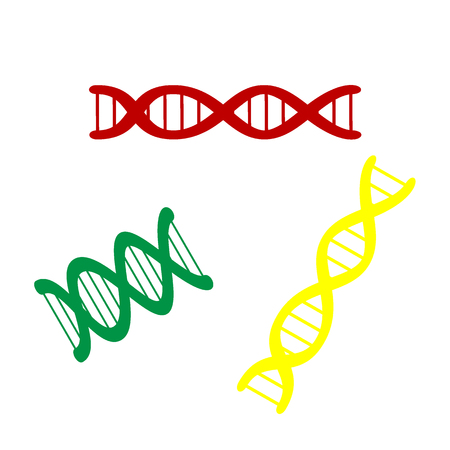 The DNA sign. Isometric style of red, green and yellow icon.