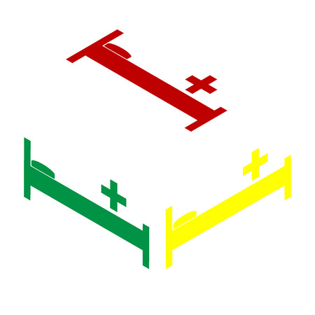 surgery stretcher: Hospital sign illustration. Isometric style of red, green and yellow icon. Illustration