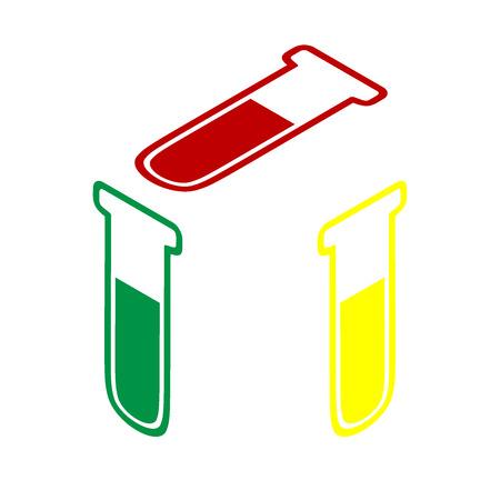 Icono de tubo médico. Signo de vidrio de laboratorio. Estilo isométrico del icono rojo, verde y amarillo.