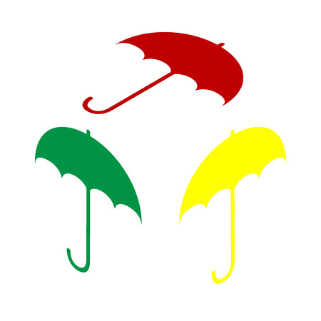 Umbrella sign icon. Rain protection symbol. Flat design style. Isometric style of red, green and yellow icon.