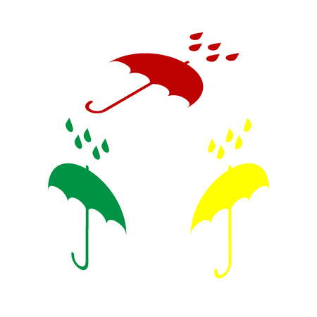 keyword: Umbrella with water drops. Rain protection symbol. Flat design style. Isometric style of red, green and yellow icon. Illustration