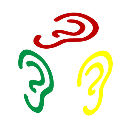 audible: Human ear sign. Isometric style of red, green and yellow icon. Illustration