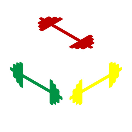 Dumbbell weights sign. Isometric style of red, green and yellow icon.