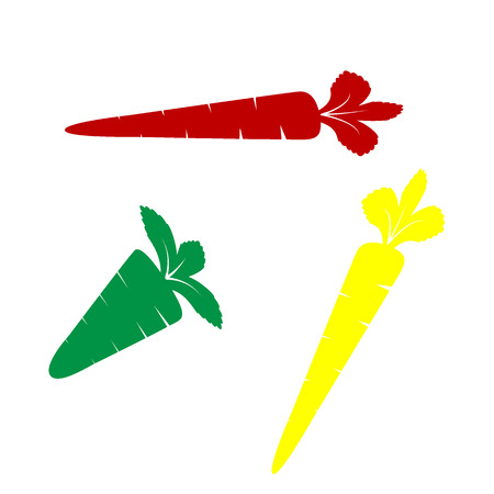 delectable: Carrot sign illustration. Isometric style of red, green and yellow icon. Illustration