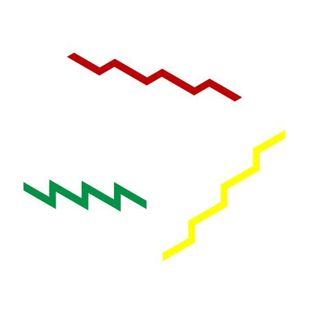 stair: Stair up sign. Isometric style of red, green and yellow icon.