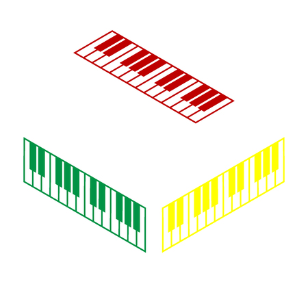 acoustically: Piano Keyboard sign. Isometric style of red, green and yellow icon. Illustration