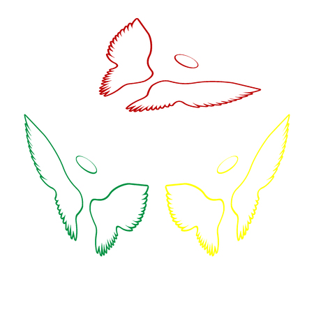 Wings sign illustration. Isometric style of red, green and yellow icon.