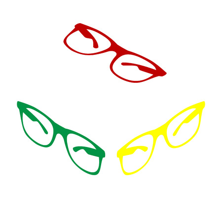 Sunglasses sign illustration. Isometric style of red, green and yellow icon.