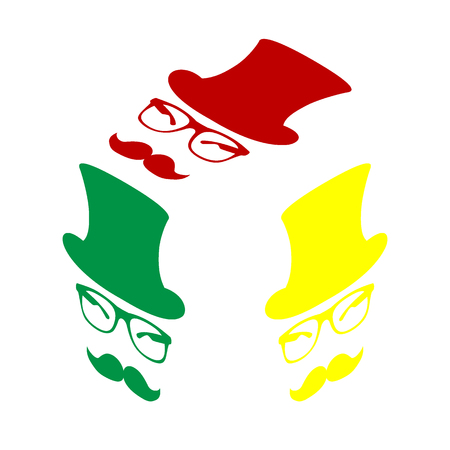Hipster accessories design. Isometric style of red, green and yellow icon. Illustration