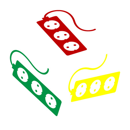 Electric extension plug sign. Isometric style of red, green and yellow icon. Illustration